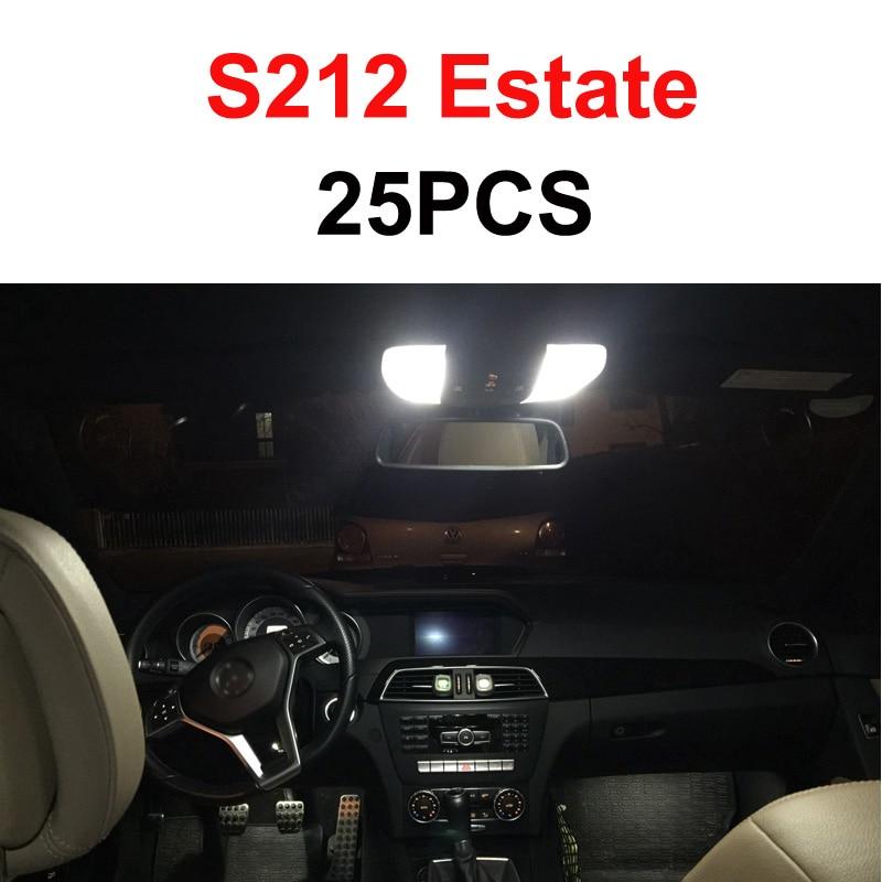 Белый светодиодный светильник без ошибок, Внутренняя купольная карта, комплект для Mercedes Benz E class W210 W211 W212 S210 S211 S212(1995 - Испускаемый цвет: S212 Estae - 25PCS