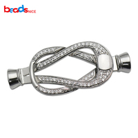 Beadsnice Sterling Silver Clasp Buckle Jewelry Clasp with End Caps CZ Micro Pave Interlocking Clasp for Beading ID35297