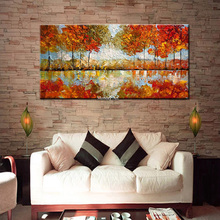Big size Hand Painted Textured Palette Knife tree Flower Oil Painting Modern Canvas painting Wall Art Picture Living Room Decor