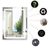 FR Send 600*800mm New Modern Bathroom Mirror LED Light Waterproof Wall Mounted Illuminated Lighted Vanity Mirror Speaker HWC