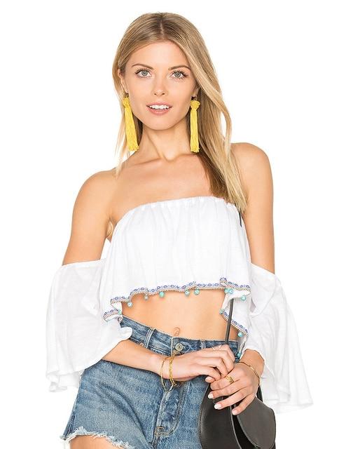 f8a8e23ea9ace9 Apparel Sexy slash neck ruffles women tops tees Off shoulder beach summer  style tops Women blouses shirt party tube top