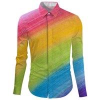 Cloudstyle Rainbow Print Fashion Men's Shirt Turn Down Collar Blouse Fashion Wedding Dress Shirt Long Sleeve Single Breaste