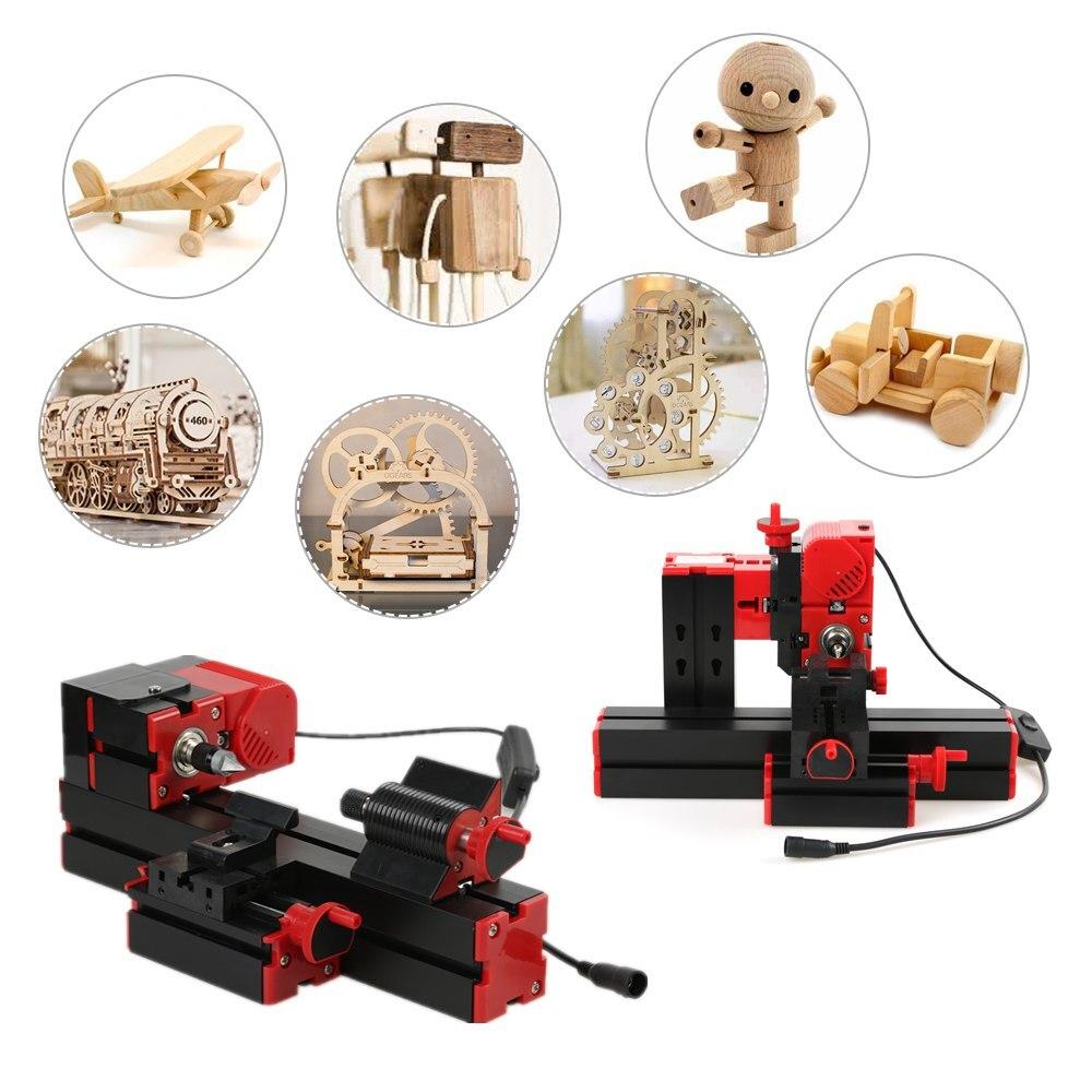 Mini 6 en 1 tour machine multi-fonctionnelle bricolage motorisé scie sauteuse foreuse Miller tour à métal tour à bois Machine-outil Kit
