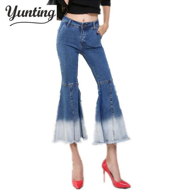 Outono Inverno Moda Feminina Babados Queimado Calça Jeans Feminina Boot Cut Sino  calças de Brim Inferiores add54d2cbd