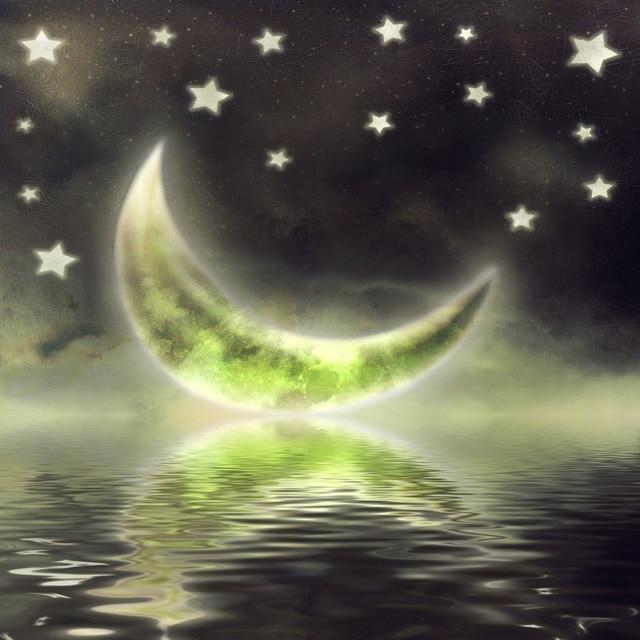 Laeacco Fairytale Verde Cresce Luna Sul Mare Cielo Stellato Di Notte