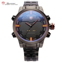 Sawback Angel SHARK Sport Watch Dual Time Digital LED Date Day Analog Black Red Stainless Steel