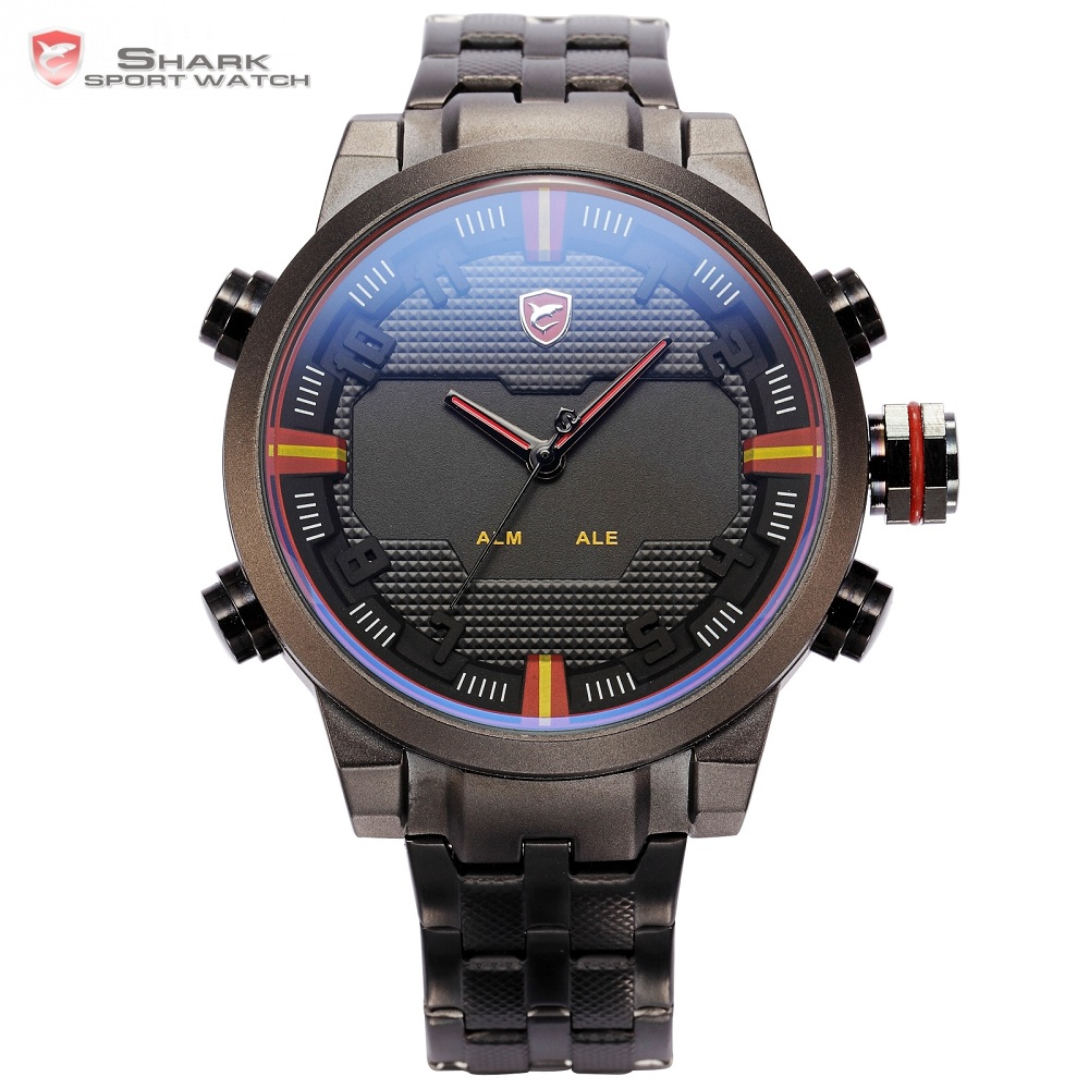 Sawback Angel SHARK Sport Watch Dual Time Digital LED Date Day Analog Black Red Stainless Steel Strap Mens Quartz Watches /SH197 classic plaid pattern shirt collar long sleeves slimming colorful shirt for men