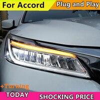 Автомобиль лампа для Honda Accord 10th фары 2016 2017 светодиодный дальнего светодиодный ближнего света с динамическим желтый поворота СИГНАЛ светоди
