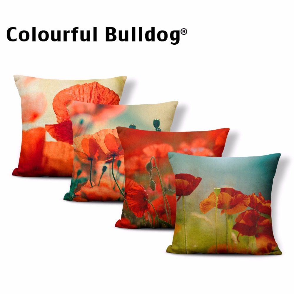 Dropshipping Beautiful Flower Throw Pillow Summer Clouds Sky Cushion Cover Green Leaves Poppies Home Couch Decor Polyester Blend