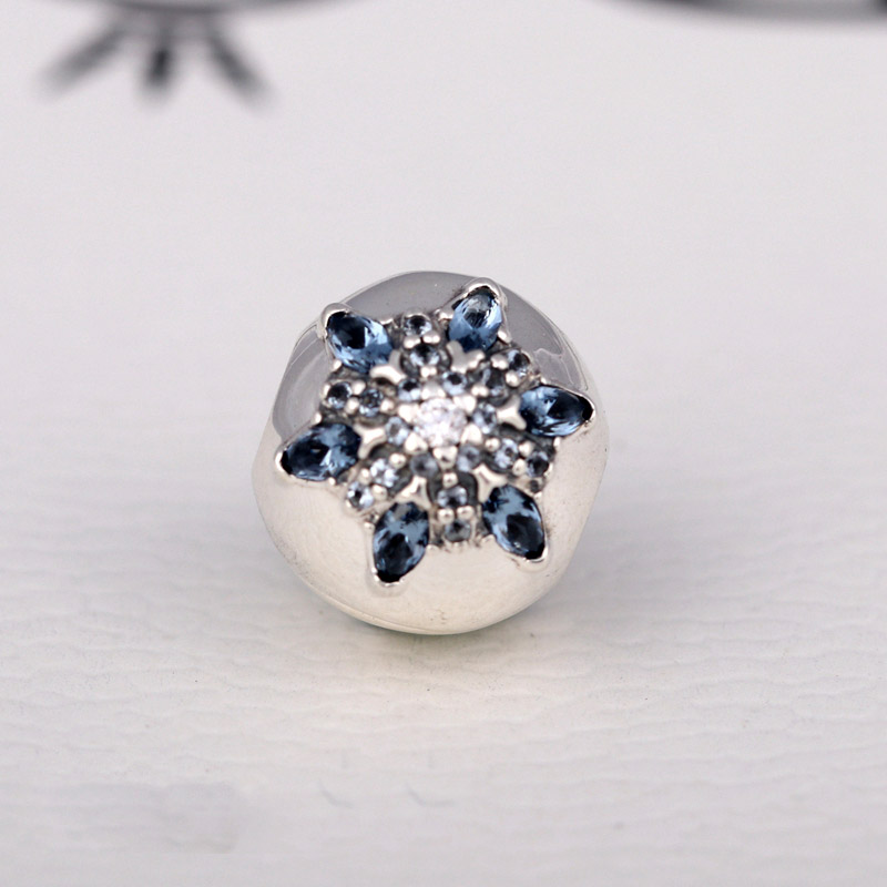 Authentic 925 Sterling Silver Bead Charm Crystal Snowflake Clip Lock Stopper Beads Fit Pandora Bracelet Bangle Jewelry