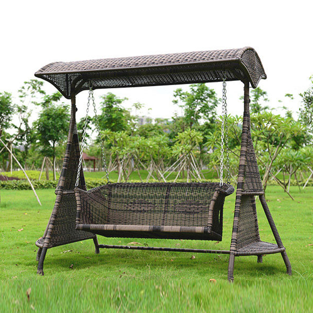 Exceptional 2 Person Wicker Garden Swing Chair Outdoor Hammock Patio Leisure Cover Seat  Bench With Cushion