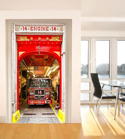Us 20 92 36 Off Free Shipping Usa Fire Truck Door Sticker For Bedroom Living Room Gift Art Pvc Waterproof Decal Wrap 77 200cm In Wall