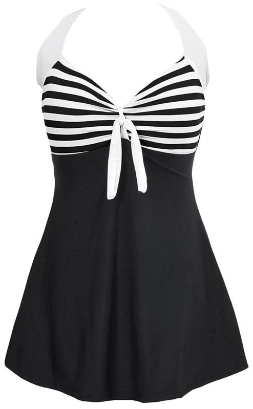 Sexy Stripe Padded Halter Skirt Swimwear Women One Piece Swimsuit Beachwear  Bathing suit Swimwear dress Plus size M~5XL 3