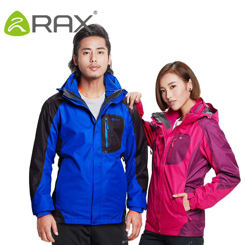 Rax Hiking Jackets Men Waterproof Windproof Warm Hiking Jackets Winter Outdoor Camping Jackets Women Thermal Coat 43-1A062 3 colours men and women hiking jackets winter outdoor camping cycling fleece lined windproof waterproof thermal windbreaker