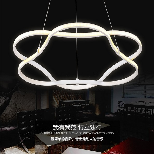 Creative Wave Ring Design Acrylic Droplight Modern Pendant Light Fixtures For Living Dining Room LED Hanging Lamp Home Lighting 40cm acrylic round hanging modern led pendant light lamp for dining living room lighting lustres de sala teto