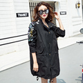 BringBring 2016 Spring and Autumn Black Sequins Long Sleeve Trench Women Thin Cotton Punk Loose Outwear 1719