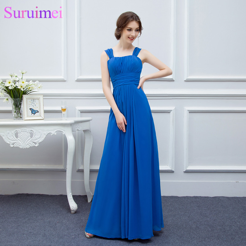 Chiffon Royal Blue Long Bridesmaid Dresses Floor Length Scoop Neck With Spaghetti Straps Brides Maid Dresses Free Shipping