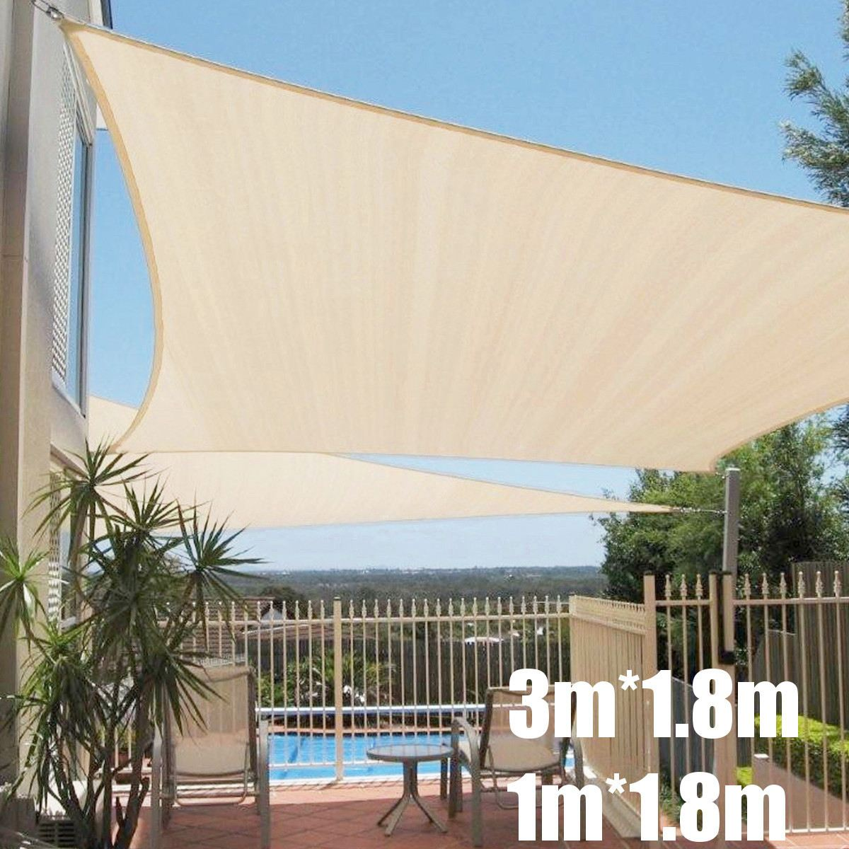 Sun Shelter Tent Beach Sunshade Net Outdoor Camping Garden UV Protect Canopy Patio Pool Shade Sail Awning Tent Portable 3*1.8m necklace
