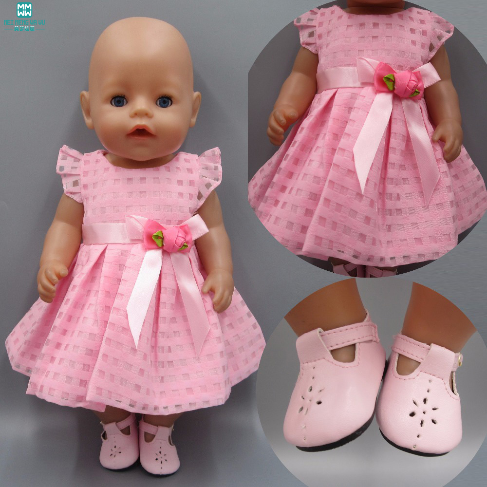 Clothes for dolls fits 43-45cm Baby Born zapf doll Pink Dress Hat Siamese Clothes