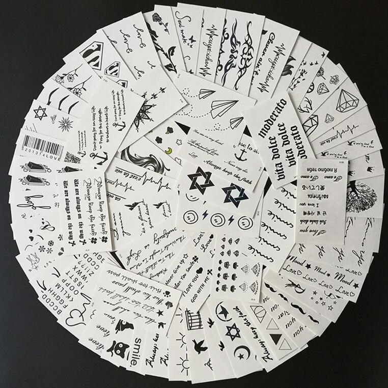 60 pièces/ensemble autocollant de Tatouage temporaire imperméable lettre arabe sourire Rose Totem faux Tatto hommes femmes Tatouage main pied bras poitrine