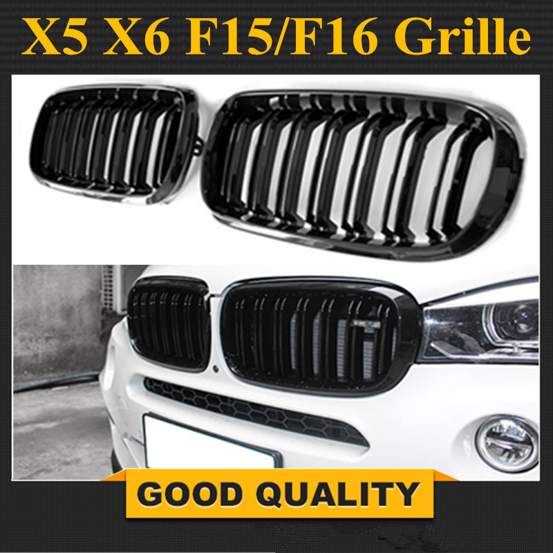 A Pair 14 -16 For BMW X5 F15 X6 F16 2014 2015 2016 Front Grille Dual Slats Gloss Black Finish pair gloss matt black m color front kidney racing bumper grille grill for bmw x5 f15 x6 f16 x5m f85 x6m f86 2014 2015 2016 2017