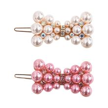 Korean Women Girls Metal Alloy Frog Bobby Pins Sweet Pink White Imitation Pearl Rhinestone Hair Clip Cute Bowknot Shape Barrette