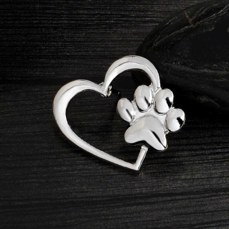 Bayan Zoe Pençe kalp Broş Köpek paws Kedi Yavru pençe Pimleri Altın Gümüş Kazak Pin Rozeti Hediye Takı kadın Kız Çocuklar