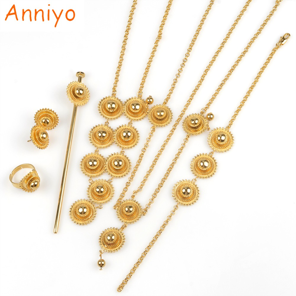 Anniyo Ethiopian Set Jewelry Habesha Necklace/Earring/Ring/Hair Pice/Head Chain/Bracelet Gold Color African Bridal #060102 anniyo good quality habesha ethiopian gold color necklace earrings ring hair chain jewelry sets african wedding gifts 047611
