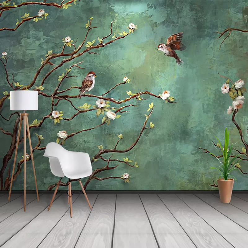 Custom Murals Wall Cloth Hand Painted Oil Painting Flower Bird  Photo Wallpapers Study Restaurant  Backdrop Wall Covering Fresco