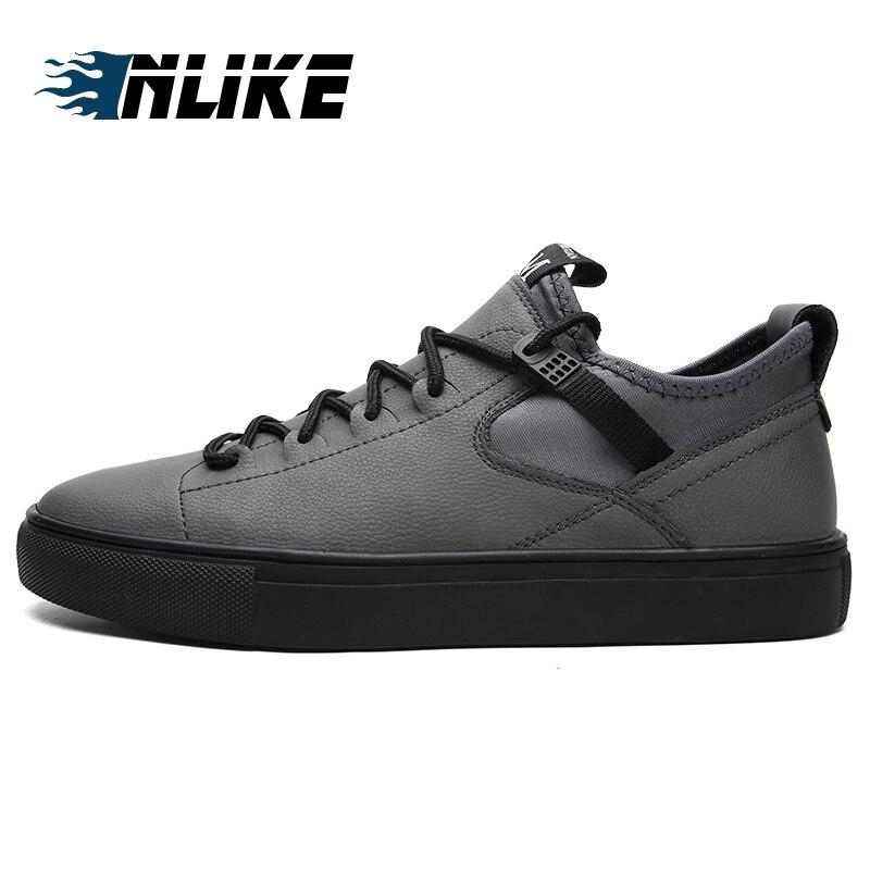Mode Casual Lacent Air La Nouvelle Sneakers gris Appartements Sport Véritable Noir À Hommes En Chaussures Inlike Cuir Plein Conseil 354jcARLqS