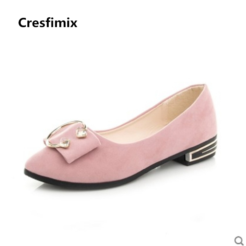 Cresfimix sapatos femininas women casual spring and summer flat shoes lady cute pink slip on flats female pointed toe shoes casual shoes women office ladies shoes lady cute bow tie pointed toe flats female cute spring