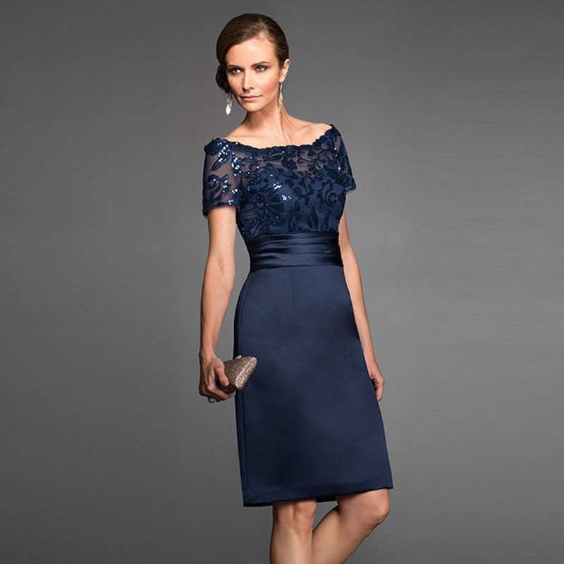 Modest Short Sequined Mother Of The Bride Dresses Elegant Navy Ribbon  Sashes Knee Length Dress Appliques Formal Party Gowns 6b5d0bc2ca13