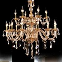 Янтарный Люстра 18 современный дизайн люстры kronleuchter AUS kristall lamparas де cristal Теко LED avize кристалл лампы