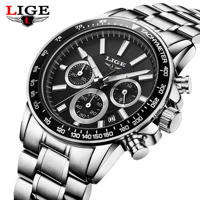 Prix pour LIGE Marque De Luxe hommes de quartz-montre en acier inoxydable Étanche montres Hommes Multi-fonction Sport Montres Relogio Masculino