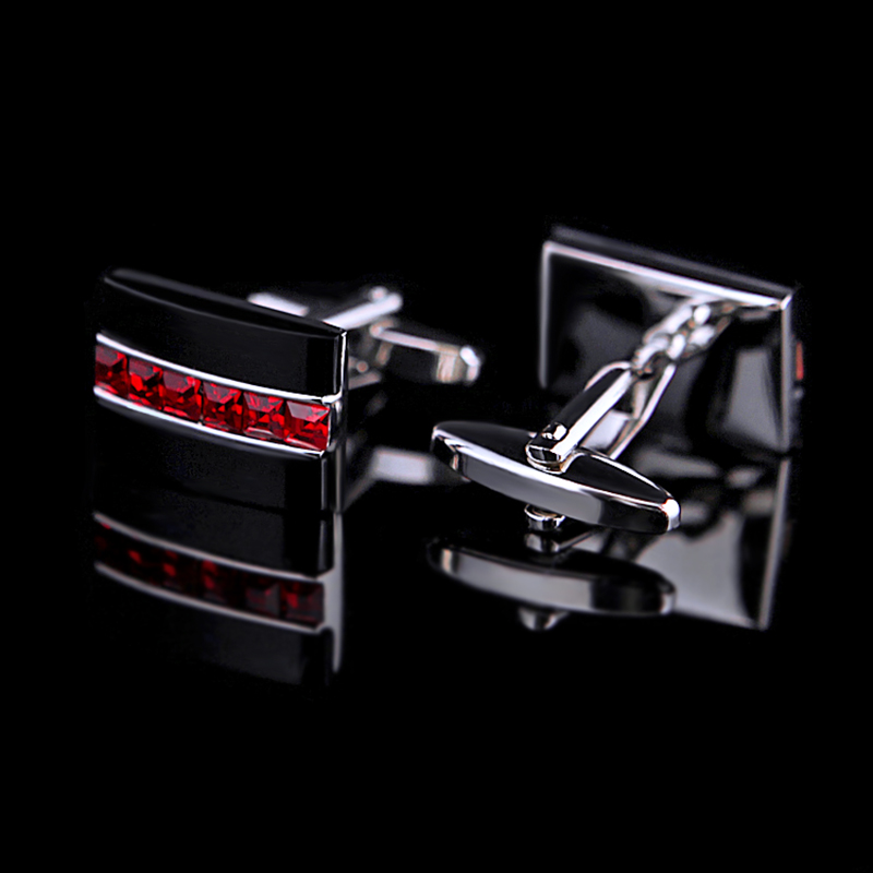 Image 2 - KFLK Jewelry fashion shirt cufflink for mens gift Brand cuff button Red Crystal cuff link High Quality abotoaduras guestsbrand cufflinks for menscufflinks for menscufflinks for mens brand -