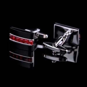 Image 2 - KFLK biżuteria modna koszula spinka do mankietu dla mężczyzn prezent marka spinka mankietowa czerwony kryształ spinki do mankietów wysokiej jakości abotoaduras goście
