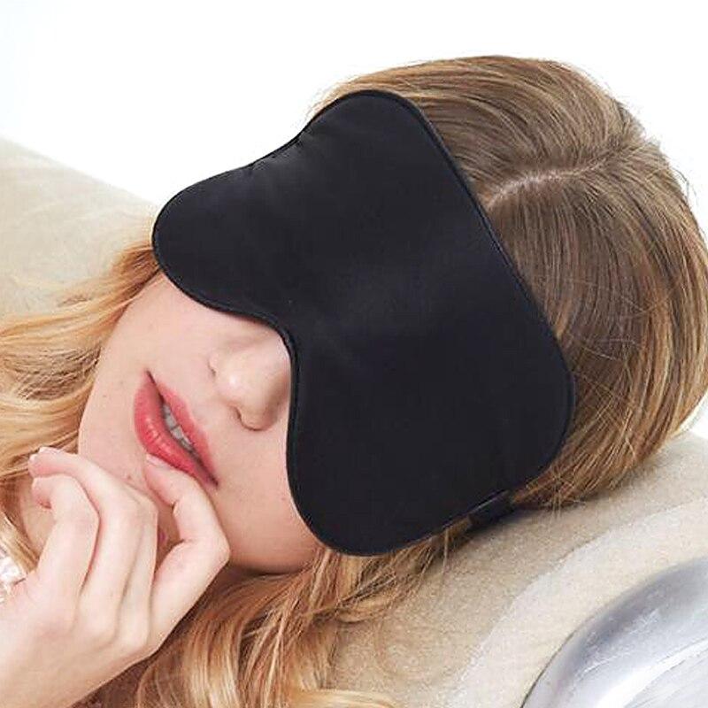 Natural Silk Sleep Mask Soft Smooth Length Adjustable Eye Cover Blindfold For Man Women Girls kids travel Rest Sleeping Black