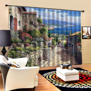 Image 2 - Bookcase Living Room Digital Print 3D Blackout Curtains Watercolor for Bedroom Decor Window Treatment Polyester Decoration Oct29