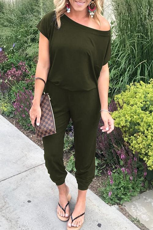 Solid Casual Sexy Off Shoulder Short Sleeve Women Suit 2019 New Arrival Women Summer Fashion Slim Elegant Long Rompers Female 30