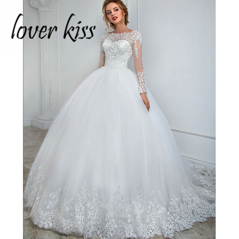 Lover Kiss Vestido De Noiva Princess Long Sleeves Wedding Dress With Corset Back Bride Ball Gowns For Weddings Plus Size 2019