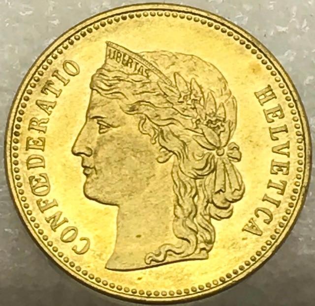 Schweiz Helvetica 1887 B 20 Fr Franken Gold Messing Handwerk