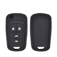 купить 4 Buttons Silicone Folding Car Key Shell  Fits For Chevrolet Cruze Sonic Buick Remote Black Key Shell Cover Car Accessories дешево