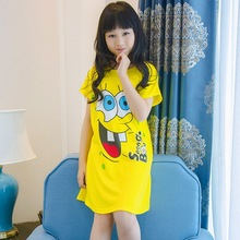 Летнее платье для маленькой принцессы для девочек; ночные рубашки для девочек тонкая короткая Пижама с рукавами платье Стильная футболка с изображением персонажей видеоигр детская пижама ночная рубашка PT22
