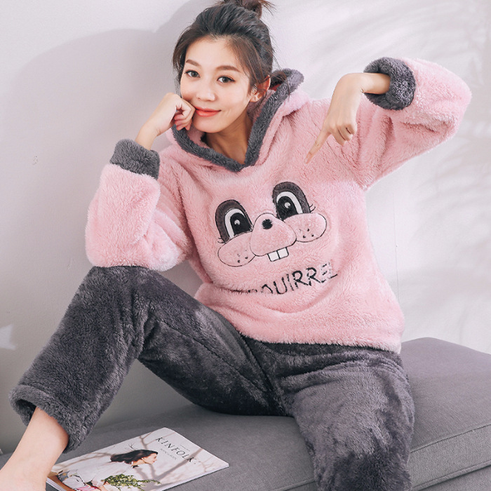 JINUO super soft long polar fleece material   pajamas     sets   cute pink cartoon sleepwear winter ladies girl female pyjamas suits