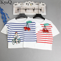 Ky&Q Casual Short Striped Women T Shirt Summer Cherry Embroidery Girl Print T Shirts For Young Short Sleeve Top Shirt Cloth