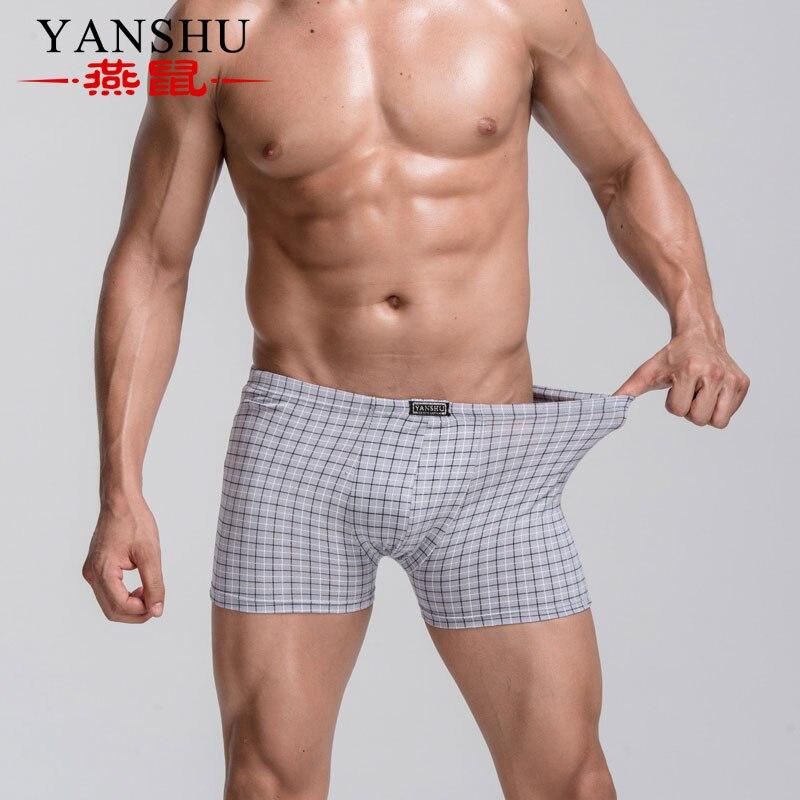 Printed Boxer Underwear Shorts Men's Cotton Plus-Size Simple Male Plaid 2-Peices Elderly