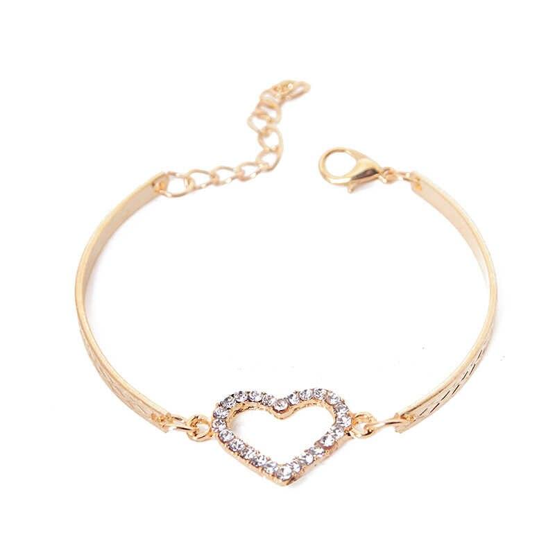האופנה CZ קריסטל לב סגולה צמידי נשים צמיד תכשיטי זהב צבע קישור שרשרת צמיד חתונת אהבת תלבושות pulseira