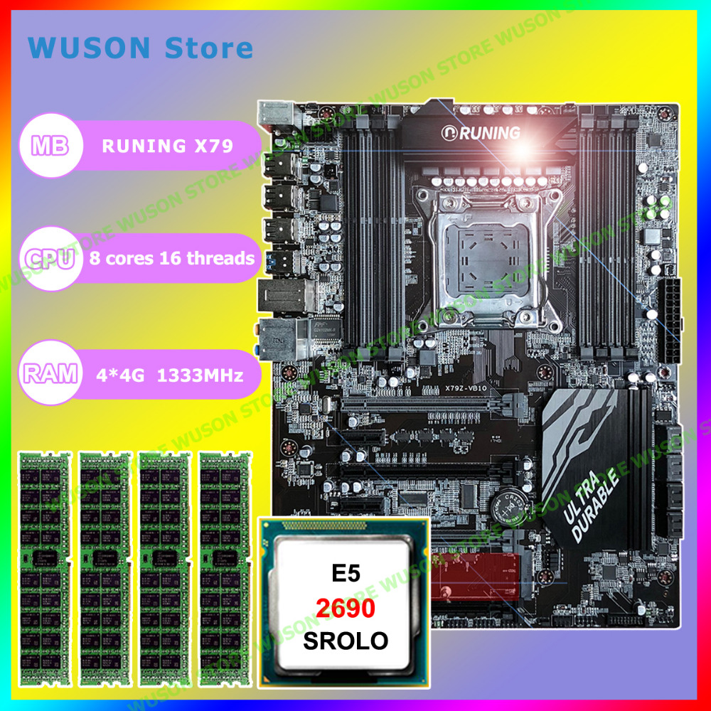 Awesome computer hardware supply brand new Runing gaming X79 motherboard Intel Xeon <font><b>E5</b></font> <font><b>2690</b></font> C2 2.9GHz RAM 16G(4*4G) DDR3 REG ECC image