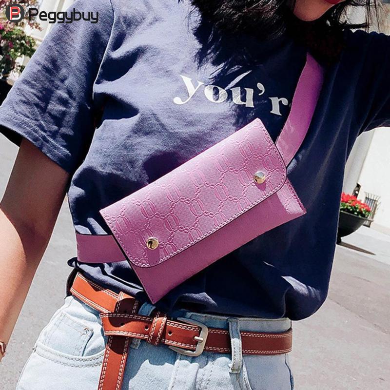 все цены на Waist Bag Women PU Leather Chest Packs Bags Belt Bag Pure Flap Phone Small Fanny Shoulder Messenger Bag