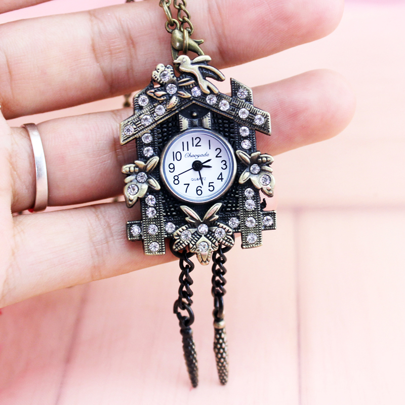 Bronze Necklace Chain Robot Pattern Pocket Watches Kids Child Quartz Women Men Clock Creative Gift Watches